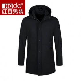 红豆羽绒服中长款85%羽绒休闲拉链防风保暖外套9S