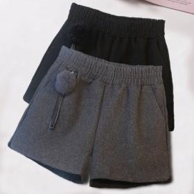 新款毛呢短裤女韩版宽松高腰阔腿裤休闲百搭外穿靴裤