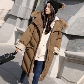 2019新年冬装卡其色中长款棉衣焦糖驼色女装外套