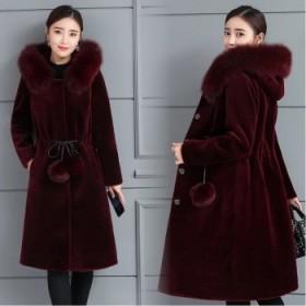 貂皮大衣女中长款秋冬水貂绒外套大码加厚仿皮草外套