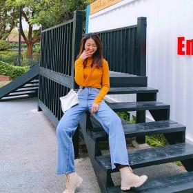 高腰直筒阔腿裤韩版新款藏肉显腿长牛仔裤