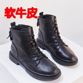 冬季新款后拉链短靴真皮细带马丁靴双拉链厚底英伦女靴