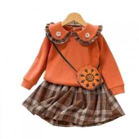 2020秋季新款向日葵裙套装纯色翻领小花印花上衣