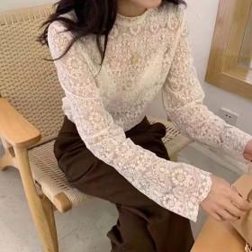 蕾丝网纱打底衫女长袖春秋装2019新款修身内搭上衣