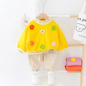 女童套装春季小花时髦花边上衣套装