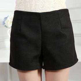 显瘦毛呢短裤春秋冬季新款大码女装加厚宽松外穿