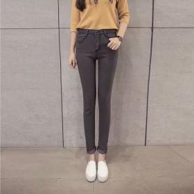 秋冬装高腰女修身显瘦显高牛仔裤泫雅同款紧身