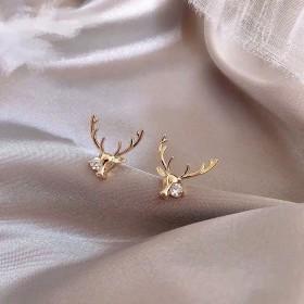 可爱麋鹿925银系耳钉新款百搭银针耳饰