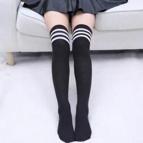 【原宿学院风长筒袜子韩国过膝袜三杠条纹袜日系滑板足
