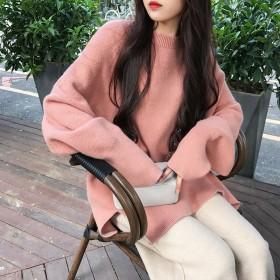 包芯 秋冬慵懒风毛衣女宽松显瘦学生大码套头