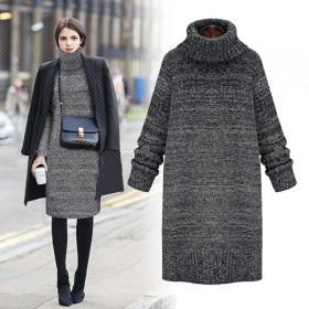 秋冬新款高领加厚保暖毛衣时尚女中长款外套打底