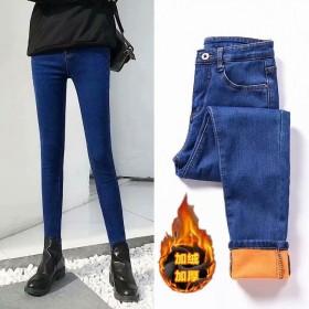 秋冬新款黑色高腰韩版牛仔裤女加绒加厚弹力修身显瘦