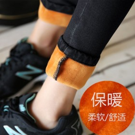 秋冬季新款加绒加厚铅笔裤小脚裤黑色韩版女装牛仔裤