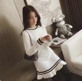 秋冬新款韩版 修身显瘦荷叶边圆领中长款毛衣针织