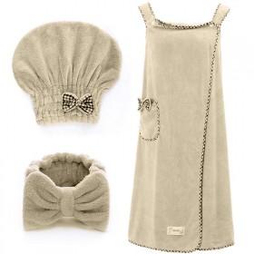 浴帽束发带套装柔软强吸水成人女性感吊带浴裙珊瑚绒