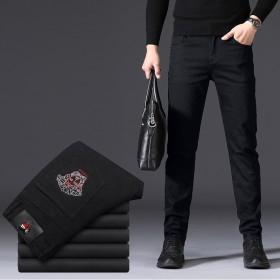 刺绣牛仔裤男绣花黑色美杜莎新款商务直筒弹力修身小脚