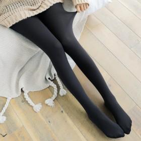 秋冬薄款拉绒打底裤外穿百搭黑色保暖连脚一体裤