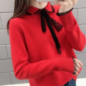 蝴蝶结针织衫洋气外套宽松百搭修身女毛衣