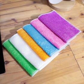 竹纤维洗碗巾不沾油双层抹布竹炭去油污洗碗布加厚