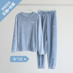 长袖长裤暖暖时尚套装女珊瑚绒宽松加绒保暖居家衣裤子