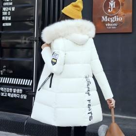 2019冬季新款韩版修身加厚大码中长款羽绒棉服女