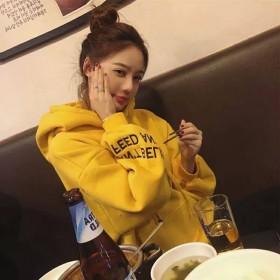 2019秋冬新款长袖韩版宽松连帽红色加厚加绒卫衣女