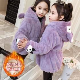女童短外套秋冬装新款洋气时髦中大童加绒加厚外套