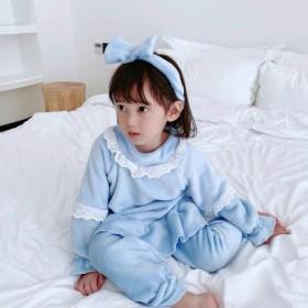 送发箍女童家居服套装新款韩版儿童法兰绒公主长袖睡衣