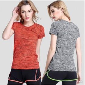 和户运动短袖速干T恤薄女段染炫色宽松跑步服瑜伽健身