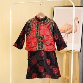 年后发货两件薄款唐装男童套装过年汉服宝宝中国风拜年