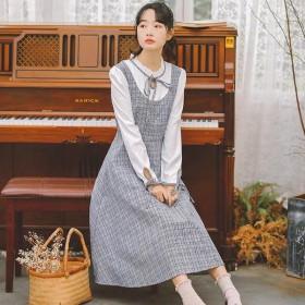 2020春季新款甜美日系jk班服假两件学院风连衣裙
