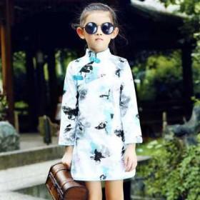 换季促销儿童旗袍秋季长袖女童唐装童装古典古筝演出服