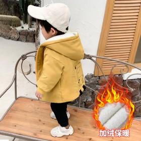 男童外套春秋儿童洋气棉衣小童韩版中长款加绒棉服宝宝