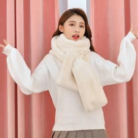 围巾女士冬季韩版保暖仿兔毛围脖毛绒纯色羊绒百搭学生