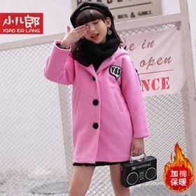 儿童毛呢大衣女童加厚连帽外套公主外穿韩版潮