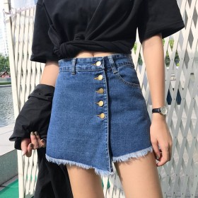 2019新款韩版高腰牛仔裤女春装怪味少女裤网红不规