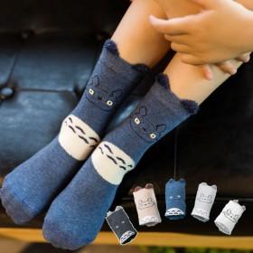 【5双】傲婉专柜儿童棉袜春秋长款动物绣花宝宝袜