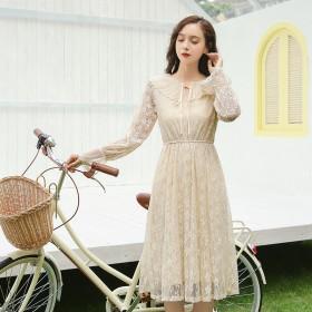 2020春装新款长袖甜美的桔梗裙