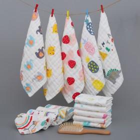 买一送一婴幼儿童六层高密纯棉卡通纱布方巾小毛巾热卖