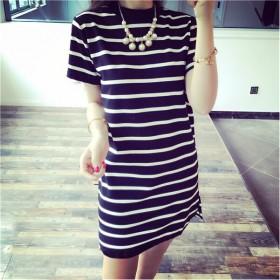夏季韩版新款中长款条纹短袖T恤女衣服上衣服女装