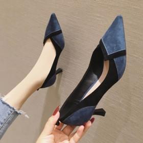 高跟鞋女鞋细跟绒面舒适中跟浅口尖头百搭单鞋女鞋