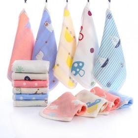 【5块】6层纯棉棉纱儿童毛巾 卡通可挂式宝宝洗脸巾