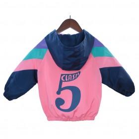 新款春秋韩版童装连帽外套女童夹克网红小女孩拼色洋气
