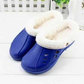 秋冬季拖鞋男棉鞋亲子拖鞋洞洞鞋加绒室内宝宝棉拖鞋