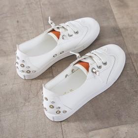 一脚蹬学生运动鞋小白鞋大码圆头女鞋小码厚底板鞋