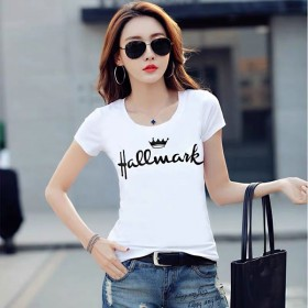 短袖t恤女新款夏装韩版百搭修身字母女装半袖白色体恤