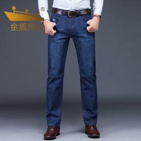 金盾牛仔裤男夏季薄款秋冬厚款中腰直筒弹力长裤