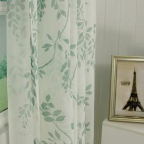 美式叶子印花纱帘现代百搭轻薄透气挂钩定制成品窗帘