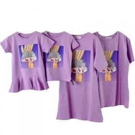 明星同款亲子装母子母女装儿童T恤情侣装