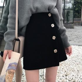 2020春秋新款韩版时尚学生宽松高腰黑色短裙女